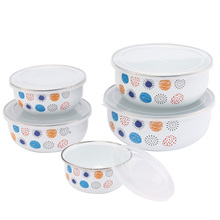 Enamel Bowl Five Piece Set Fresh Box Lunch 5 Pieces/set Classic White Dessert Bowls Soup Pots Salad Food bowl