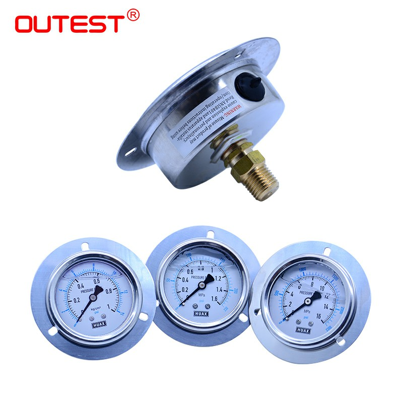 OUTEST Mini Stainless Steel  Air Oil Water Hydraulic Pressure Gauge Thread G 1/4 Manometer Pressure Gauge Double Scale