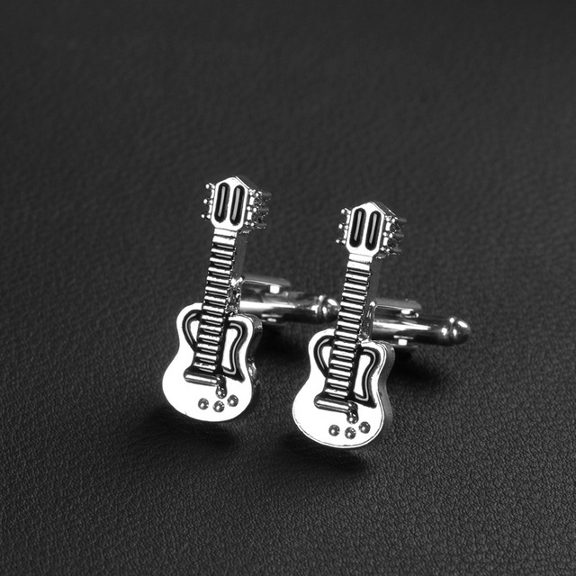 Trendy Hip-Hop Guitar Music Silver Black Vintage Cufflinks