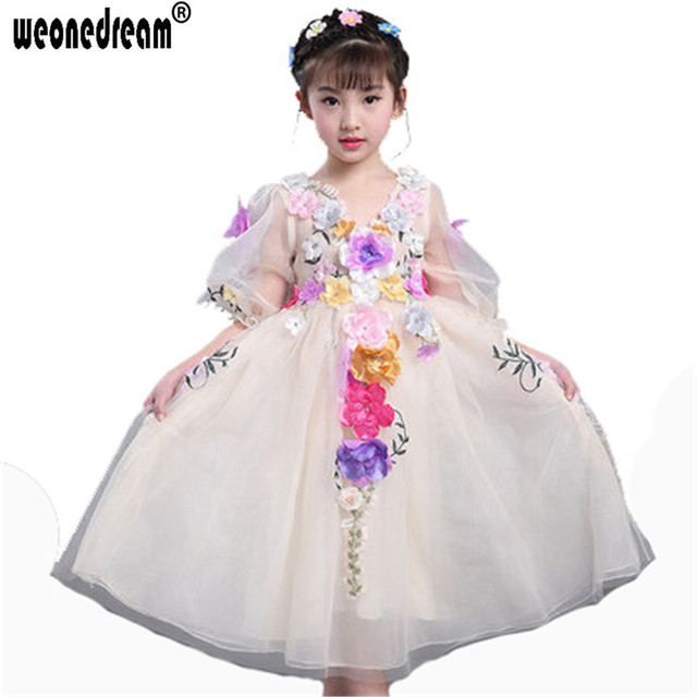 WEONEDREAM 2018 Spring Beautiful Flower Kids Fairy Party Dresses Baby  Costume For Girls Princess Dress Children