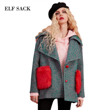 ELF SACK 35.8% Wool Coats Women Winter Red Fur Pockets Straight Womens Oversize Turn Down Collar Thick Striped