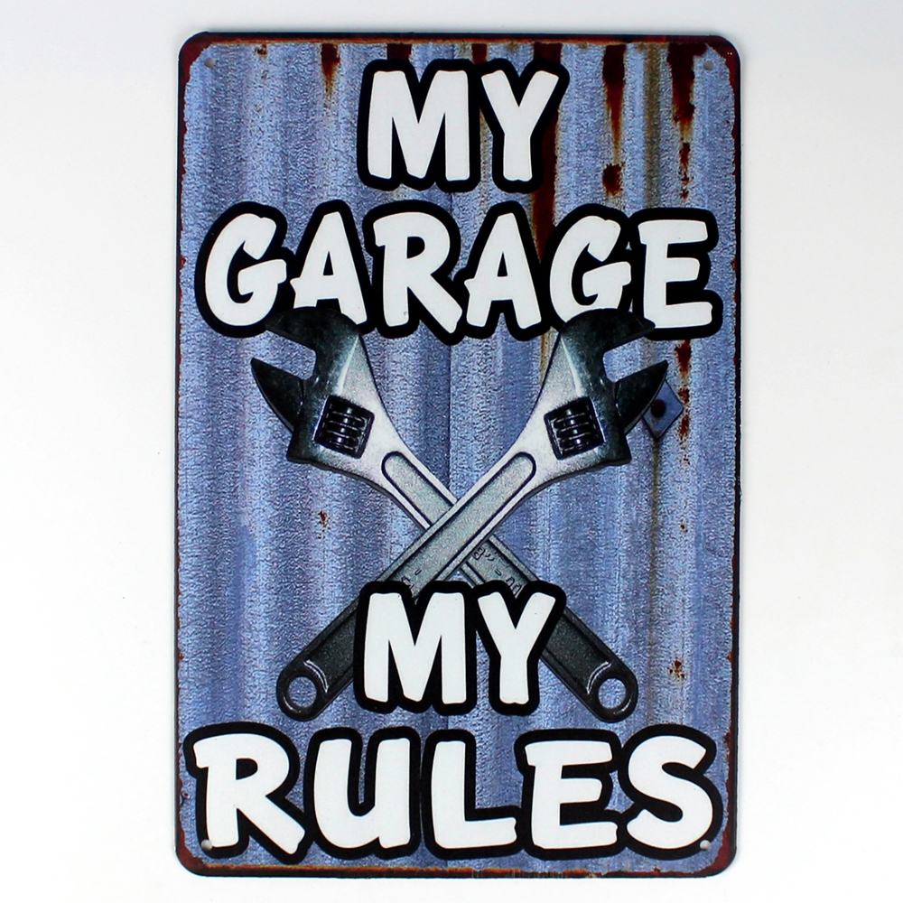[ Kelly66 ] Metal Sign MY GARAGE MY RULES Vintage Metal Plaque Bar art Wall Painting Craft 20*30 CM Size D-155