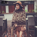 YI LIAN New Fashion women Leopard print scarf winter warm Knitting wool scarves with tassel double side  Poncho Shawls YL-70047