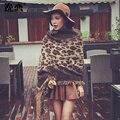 YI LIAN Nuevas mujeres Del Estampado Leopardo bufanda caliente del invierno bufandas de lana de Punto con la borla de doble cara Poncho Chales YL-70047