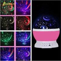 Romantyczna Rozgwieżdżone niebo Gwiazda Projektor Lampa LED Light Night Obrotowy Migające Światła Projekcji Lampa USB dla Dzieci Dzieci Dziecko Sypialni