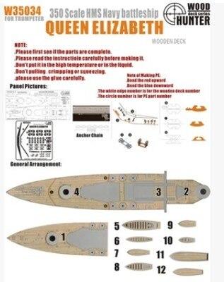 1/350 ponts en bois de la reine Elizabeth, angleterre modèle d'assemblage