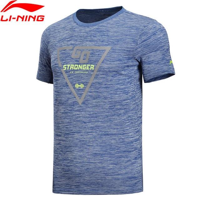 Li-Ning мужские футболки для тренировок для тренажерного зала на сухой 100% полиэстер Regular Fit дышащая подкладка спортивные футболки топы ATSN087 MTS2788