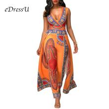 Women African Printed Jumpsuits V cut Hot Floral Rompers Fitted Leg Pants Casual Holiday Party Wear ME-Q115 v cut textured slim fitted tee
