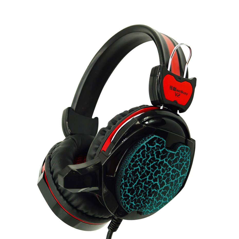 Gaming Big Headset LED Wired noise canceling Headband Headphones with Mic for PC Gamer Computer Games With microphone  LED Light earfun brand big headphones with mic