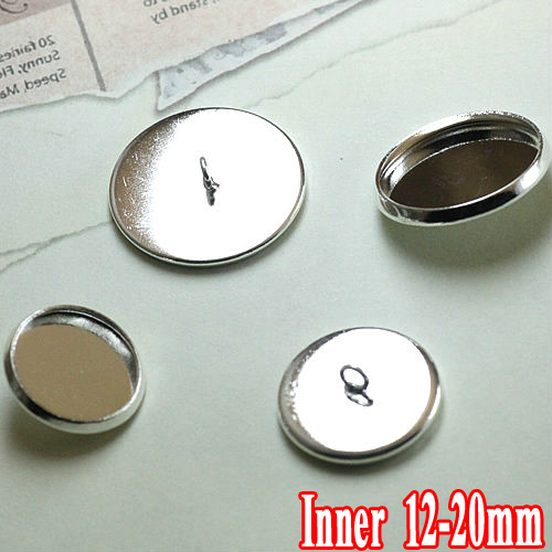 150pcs Silver Plated Brass Metal Cufflink Base W/Inner 12-20mm Cameo Cabochon Setting Tray Cuff links Blank
