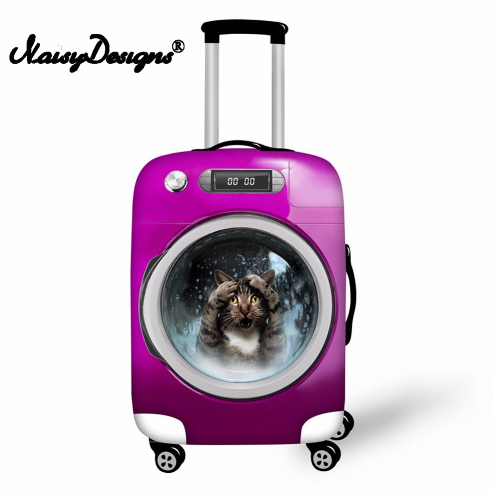 Noisydesigns Cat& Dog Print Luggage Suitcase Elastic Fashion  Protective Cover Dust-proof  Trunk Suitcase Case Cover   For S/M/L