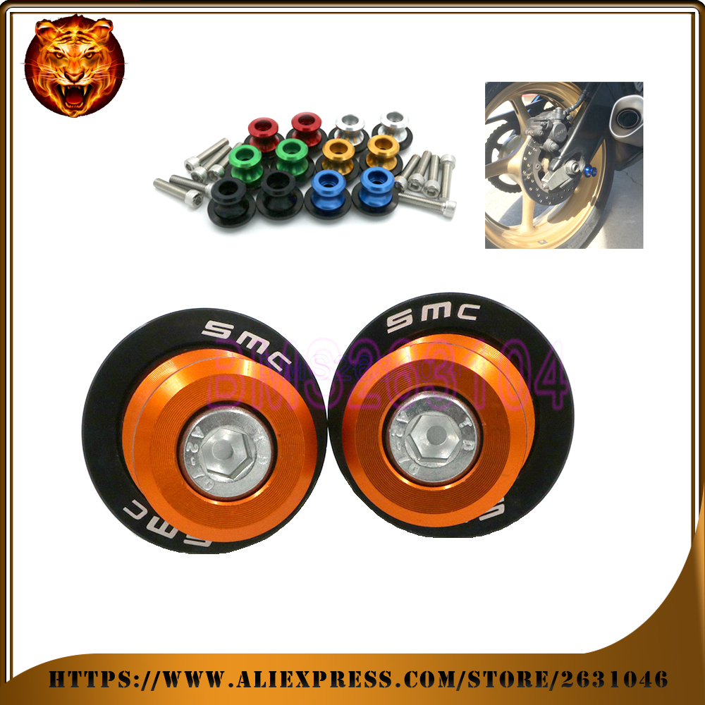 Motorcycle Aluminum Swingarm Spools Slider Stand Screw 0.393 inch For KTM 690 SMC SMC-R RACING  WITH LOGO accessories CNC