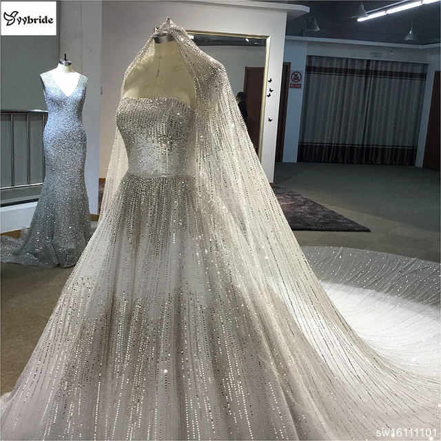 Surmount Real Sample Luxurious Full Crystal Beaded Newest Ball Gown Wedding Dress 2019