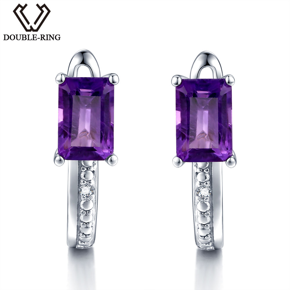 DOUBLE-R Natural Diamond Clip On Earrings Female 1.2ct Real Purple Amethyst Earrings Women 925 Silver Gemstone Jewelry Gift