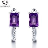 DOUBLE R Natural Diamond Clip On Earrings Female 1.2ct Real Purple Amethyst Earrings Women 925 Silver Gemstone Jewelry Gift