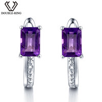 DOUBLE R Natural Diamond Clip On Earrings Female 1.2ct Real Purple Amethyst Earrings Women 925 Silver Gemstone Jewelry Gift