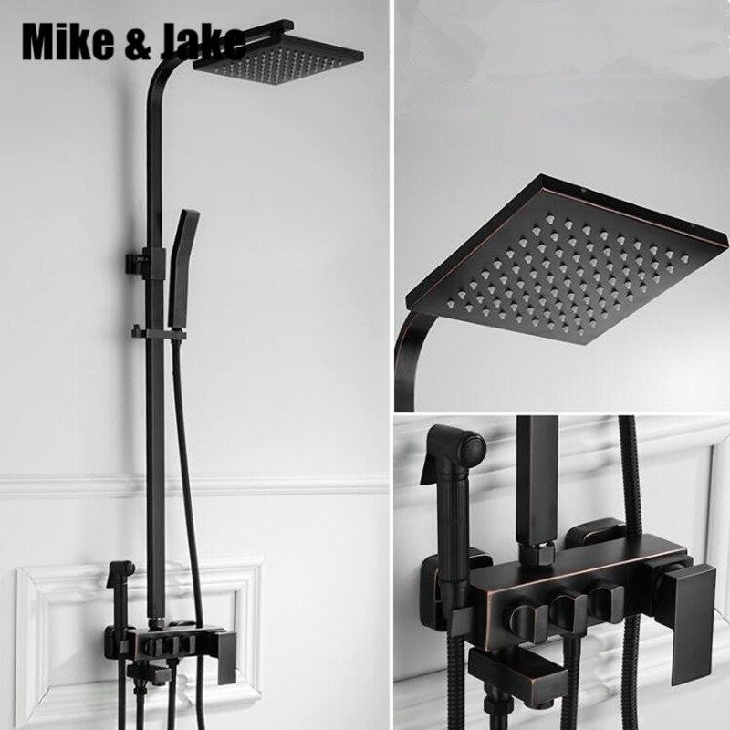 Bathroom black shower set four function bidet shower kit wall bidet bathtub set hot and cold