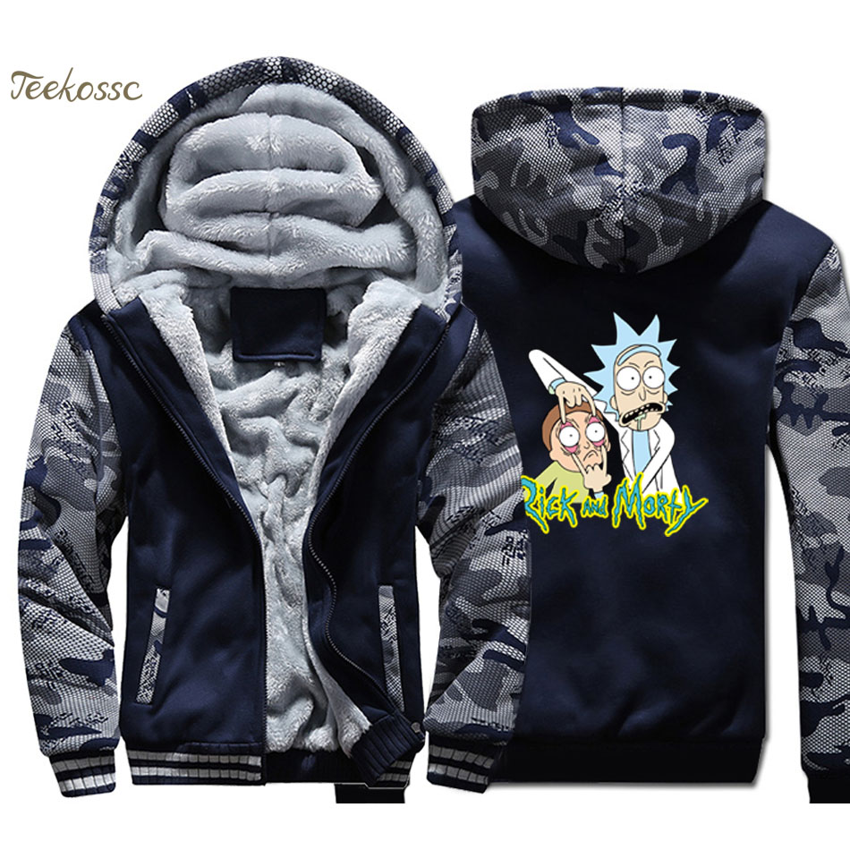 Rick and Morty Funny Hoodie Men Anime Hooded Sweatshirt Coat Winter Fleece Thick Jacket Camouflage Sportswear Brand Clothing 4XL