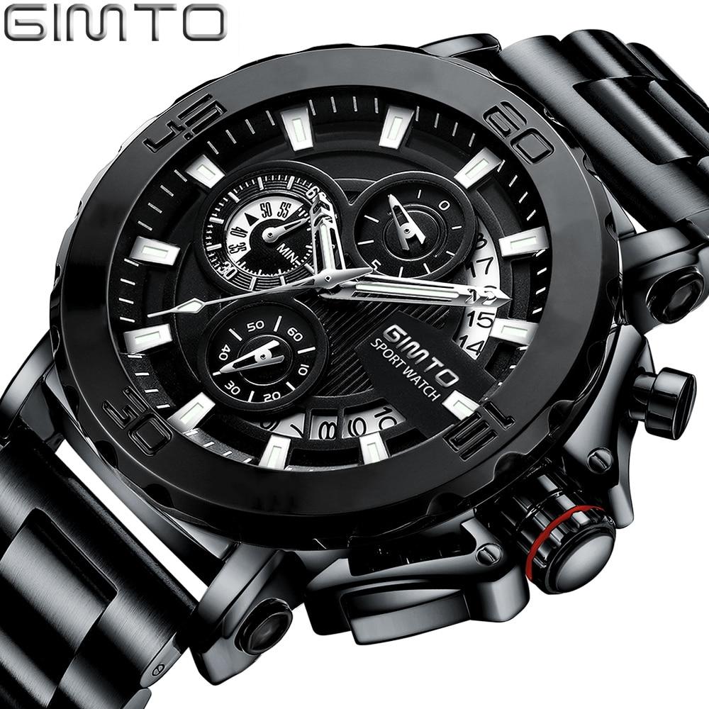 2018 Luxury Quartz Men Watch Brand GIMTO Military Sport Creative Male Wristwatch Waterproof Steel Gold Clock relogio masculino цена 2017