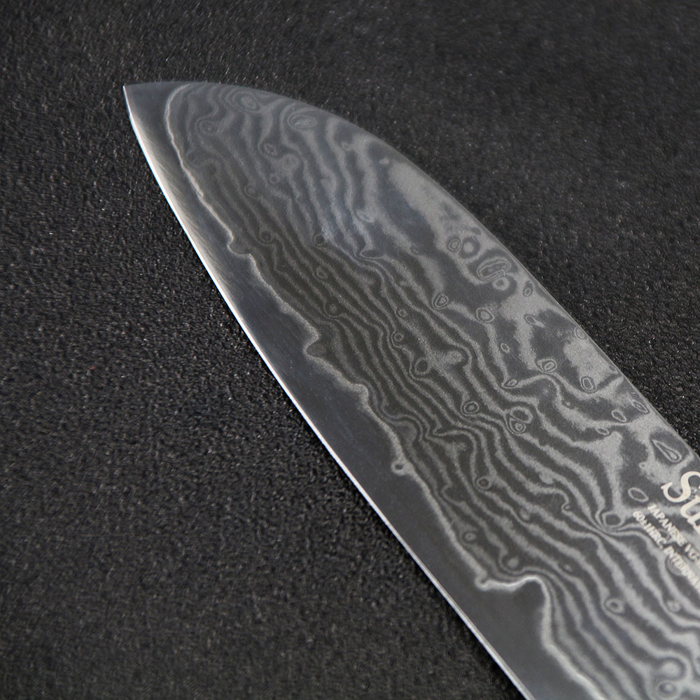 Sunnecko 5 inches Santoku Knives Stainless Steel Damascus VG10 Blade Slicing Knife G10 Handle Fruit Meat Chopping Veg Paring