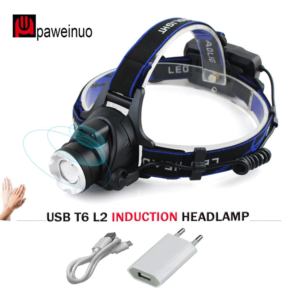 Capteur infrarouge Induction led Projecteur XM-L2 lampe frontale micro usb phare rechargeable Lampe De Poche De Pêche lampe frontale 18650 lumière