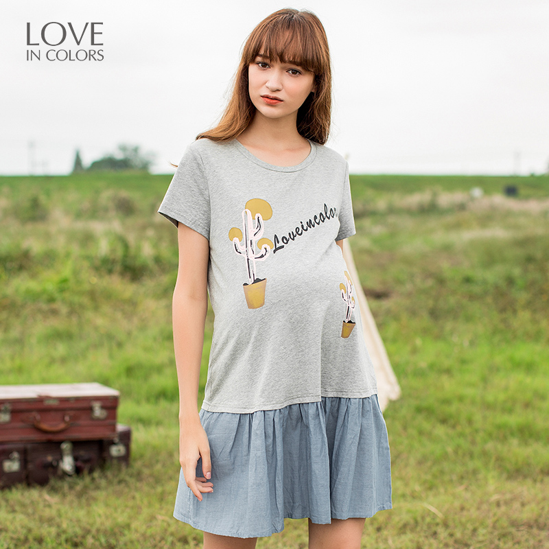 Loveincolors Maternity Women Matching Dress Cactus Printing Cotton Pregnant Clothes