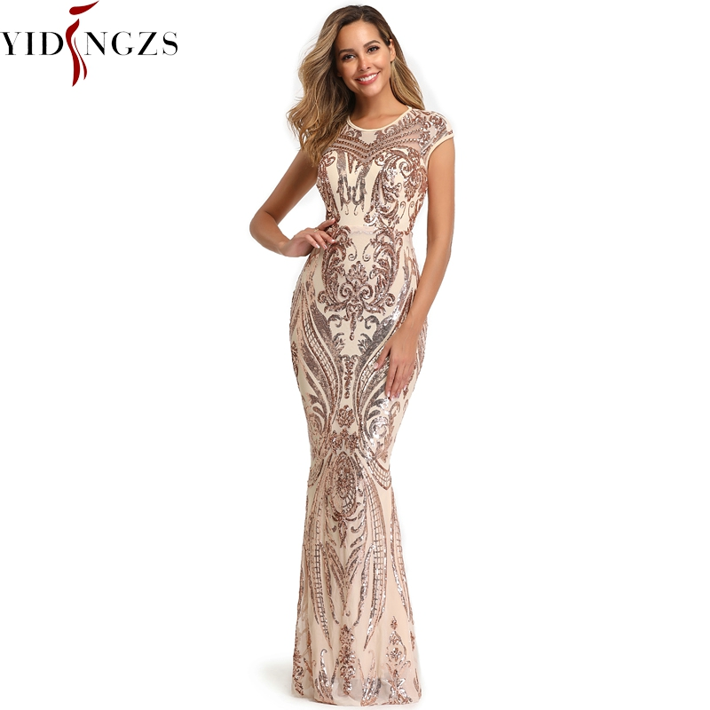 YIDINGZS Elegant Gold Sequins Prom Dress Backless Beads Long Evening Party Dress YD088