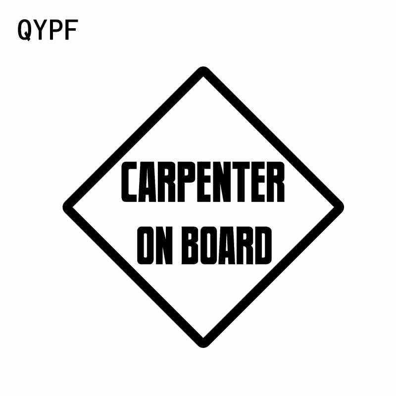 QYPF 11.8CM*11.8CM CARPENTER ON BOARD Vinyl Car Motorcycle Sticker Decal Black Silver C14-0268