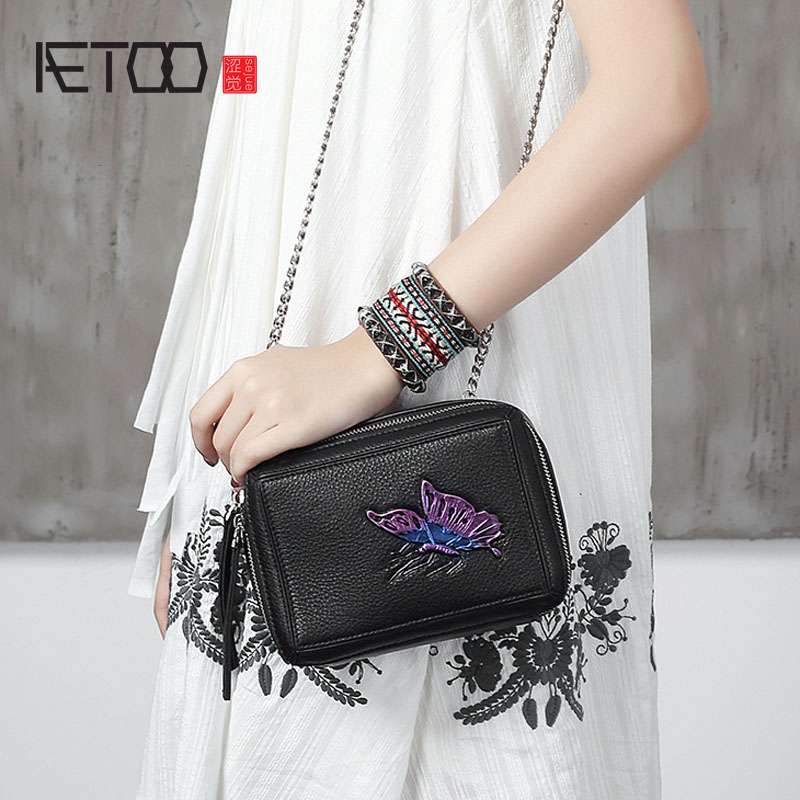 AETOO New women's first layer of leather Messenger bag leather retro small square bag chain ladies bag aetoo the new first layer of leather handbags leather lingge shoulder bag retro cowardly messenger bag female small square bag