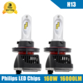 2x 160W 16000LM H13 9008 LED Headlight Conversion Kit High/Low Beam Bulbs 5700-6000K Car Truck Replacement Super Bright Headlamp