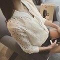 2016 Novo Bombardeiro Jaqueta de Manga Longa preto branco Rendas Camisa Protetor Solar Curto Mulheres Verão Fino Casaco Feminino Uniforme de Beisebol Casuais
