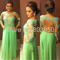 Sexy Vestidos De Noche See Though Long Sleeve Dress Party Evening Elegant Vestido De Festa Appliques Beaded Evening Gowns