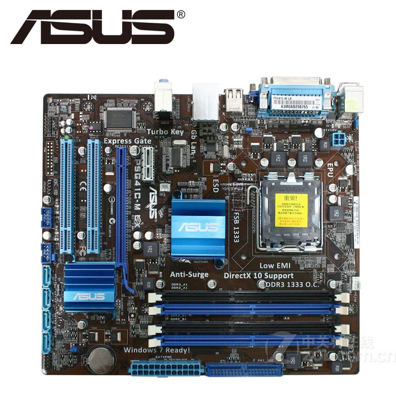 Asus P5G41C-M LX Desktop Motherboard G41 Socket LGA 775 Q8200 Q8300 DDR2/3 8G u ATX UEFI BIOS Original Used Mainboard On Sale asus p8b75 m lx desktop motherboard b75 socket lga 1155 i3 i5 i7 ddr3 16g uatx uefi bios original used mainboard on sale
