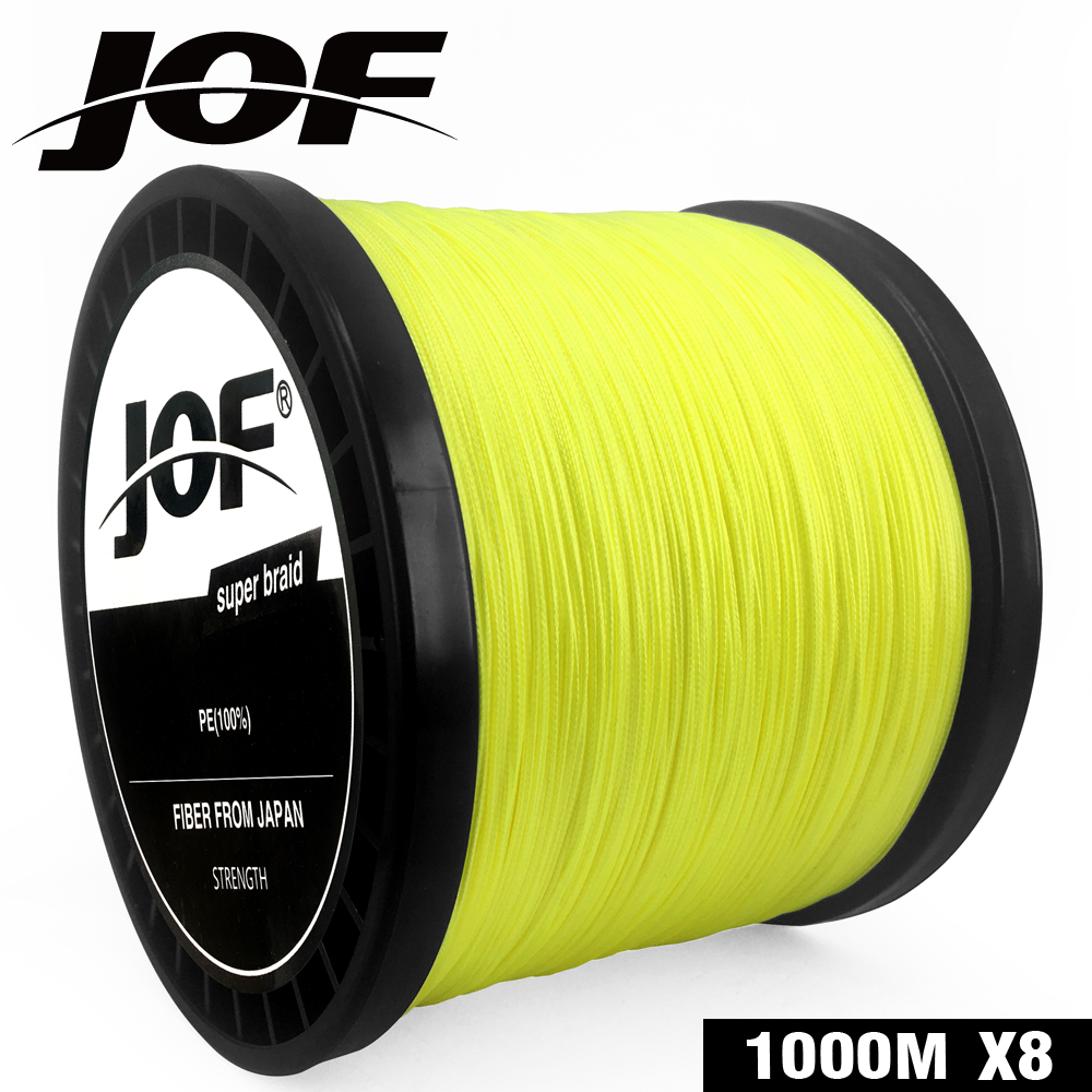 JOF Braided Fishing Line 8 Strands Yellow 100M 150M 300M 500M 1000M Cord linha multifilamento 8 Fishing 2019