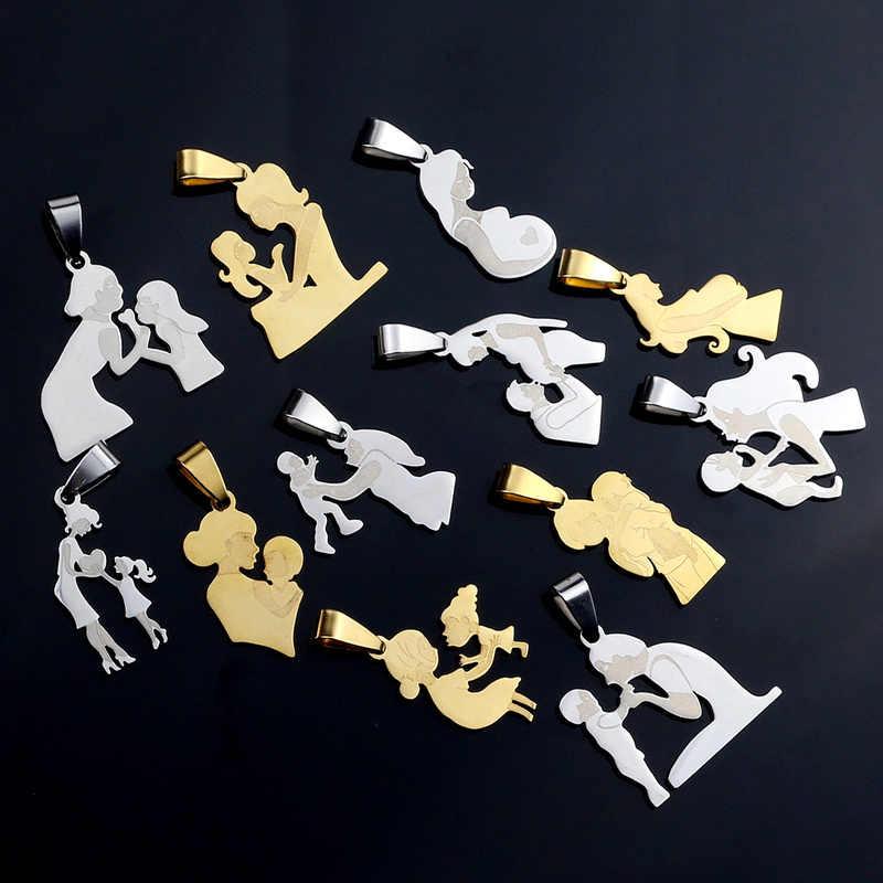 День матери из нержавеющей стали семья мама талисманы подвески для Diy ювелирных изделий Серебряный тон талисманы браслет ожерелье аксессуары