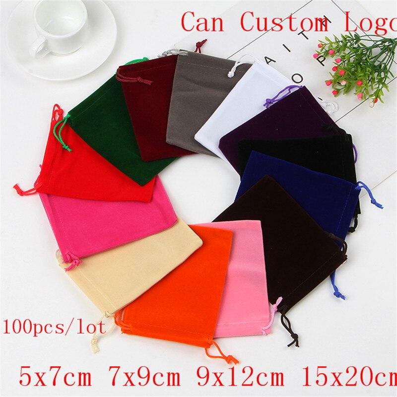 100pcs/lot 5x7 7x9 9x12 15x20cm Velvet Bag Bracelet Gifts Jewelry Packaging Bags Drawstring Gift Bag Pouches Can Custom Logo