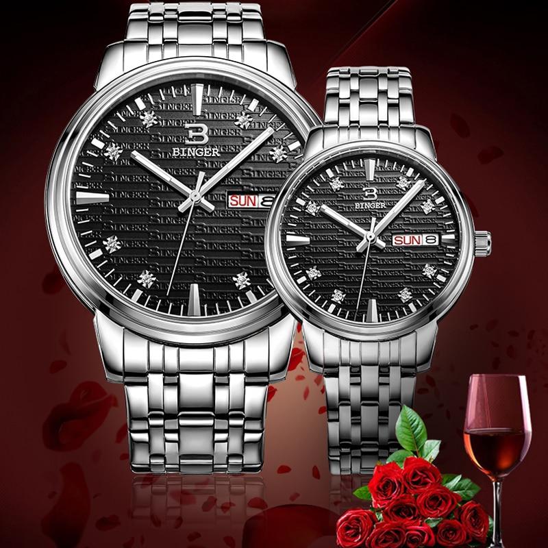Couple Watches BINGER Mens Business Dress Watches Luxury 50M Waterproof Sport Watch Men Fashion Women Watch Lovers Quartz Clock