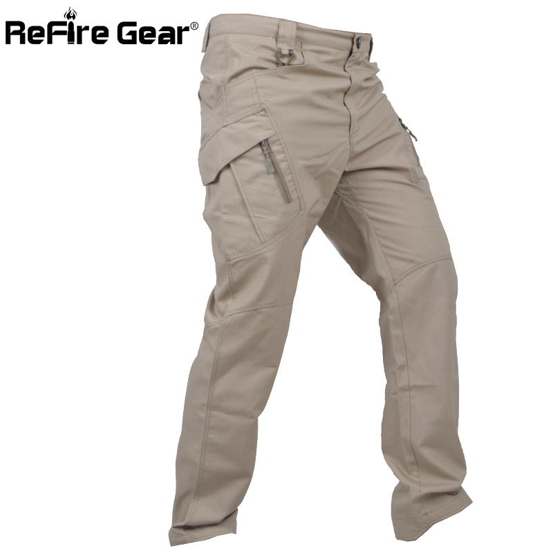 ReFire Gear IX11 Urban Tactical Military Pants Men SWAT Multi Pockets Army Combat Cargo Pants Casual Work Stretch Cotton Trouser