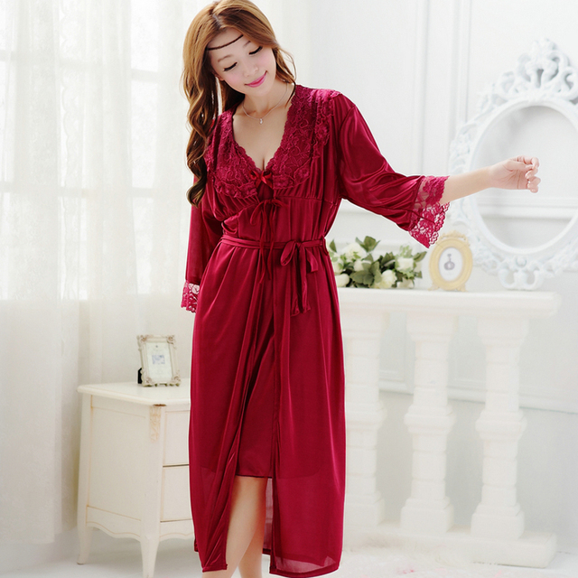 Free shipping women lace Large size long nightdress 6 colors plus size robe  sets bathrobe Sleepwear 098b92af6
