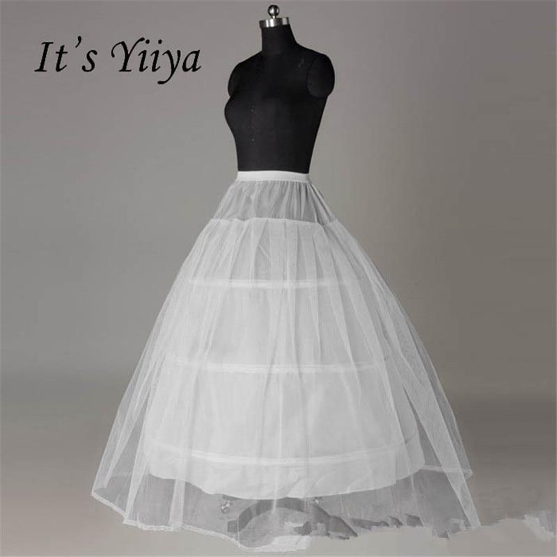 It's Yiiya White 3 Hoops Ball Gown Petticoat Wedding Accessories Bride Crinoline Underskirt Velos De Novia Voile De Mariee QC012