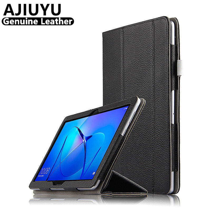 Genuine Leather For HUAWEI MediaPad T3 10 Case Cover T3 10.0 Case 9.6 AGS-W09 AGS-L09 Cowhide Tablet Honor Play Pad2 Protective folio slim cover case for huawei mediapad t3 7 0 bg2 w09 tablet for honor play pad 2 7 0 protective cover skin free gift