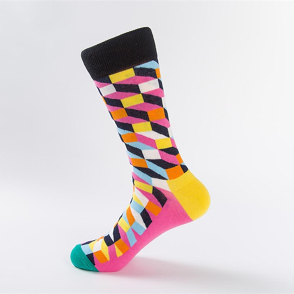 6 Colors New Mens Casual Combed Cotton Socks Funny Happy Socks Colorful Grid Diamond Novelty Crew Socks England Style Harajuku