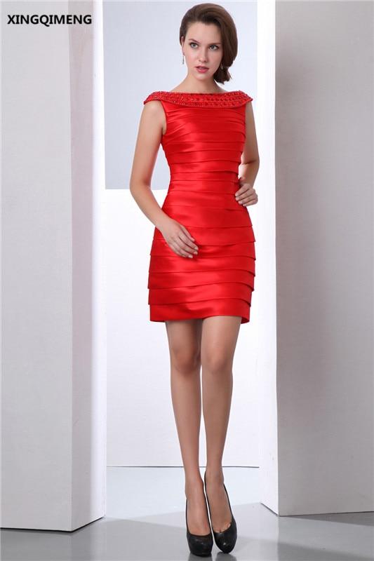 Sexy Red Mini Cap Sleeve Cocktail Dresses Above Knee Elegant