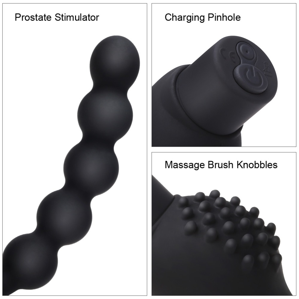 Luvkis Beads Hook Particles Anal Vibrator Male Prostate Massage Butt Plug Vibrating 10 Speeds USB Charged