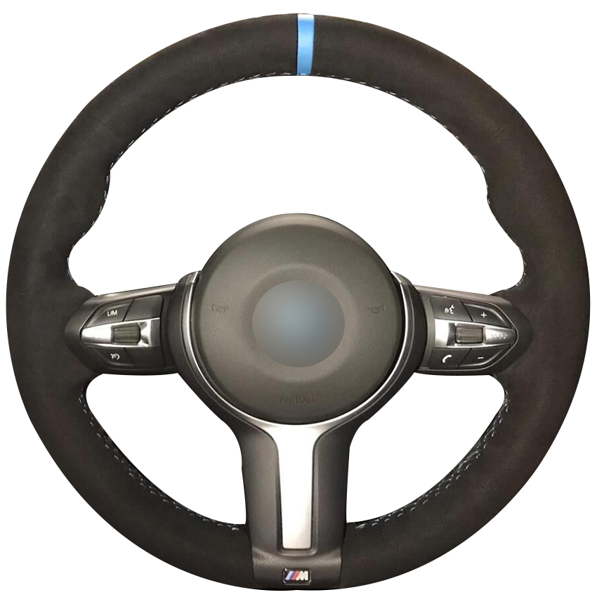 Black Suede Light Blue Marker Steering Wheel Cover for BMW F87 M2 F80 M3 F82 M4