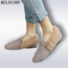 Size 34-44 Spring Autumn Women Rabbit Fur Shoes Fashion Indoor Outdoor Lady Flats Shoes For Fat Slip On Casual Fur Loafers Shoes free shipping small size 2018 autumn imitation rabbit fur shoes tassel women s shoes flat single shoes pointed and velvet