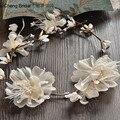 Mais novo Projeto Bonito flor de seda fio peruca com handmade noiva aro para marrige 2017