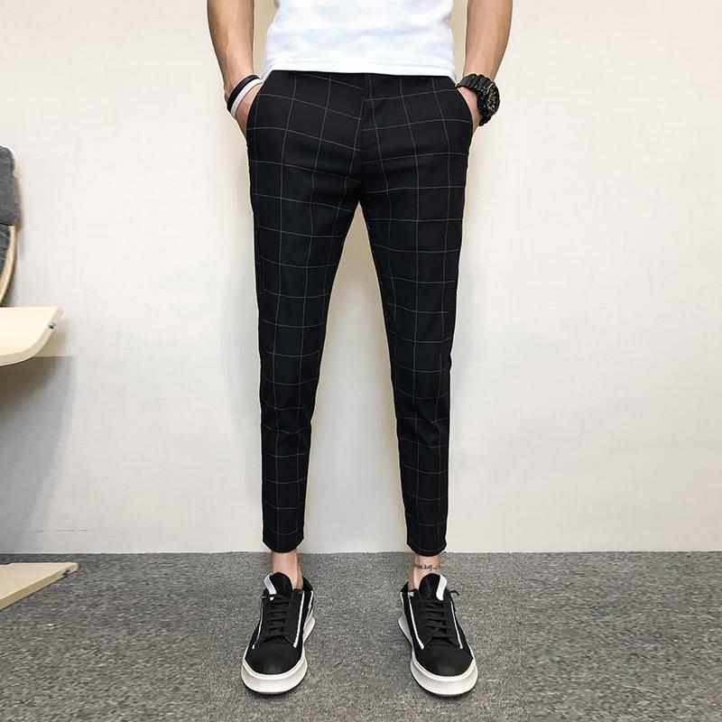 New Plaid Pencil Pants Mens 2019 Business Casual Zipper Trousers Male Street Fashion Slim Fitness Long Pants