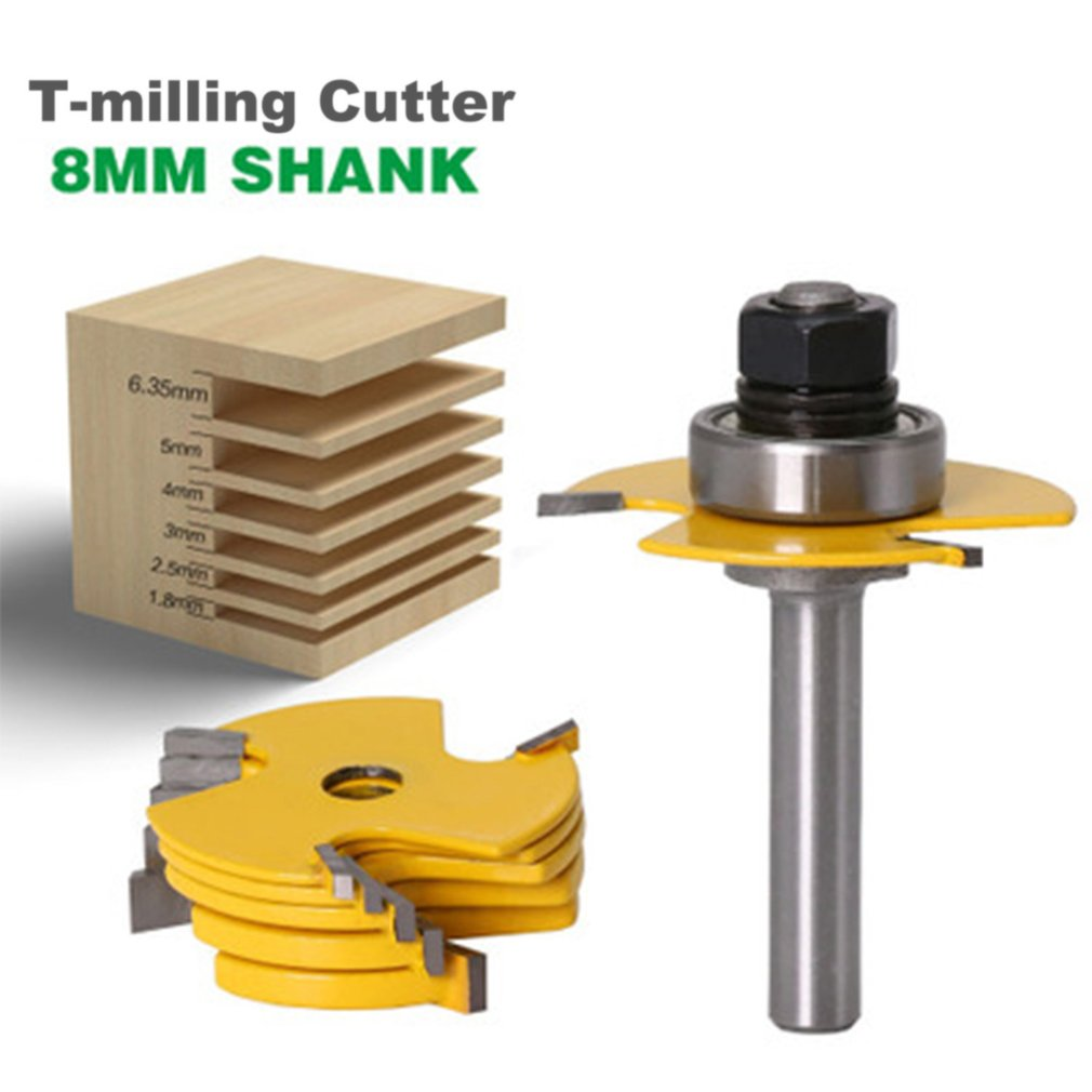 2PCS 8mm Shank Milling Cutter Router Bit Set high quality Tongue & Groove Joint Assembly Woodworking T-Milling Cutter Tool