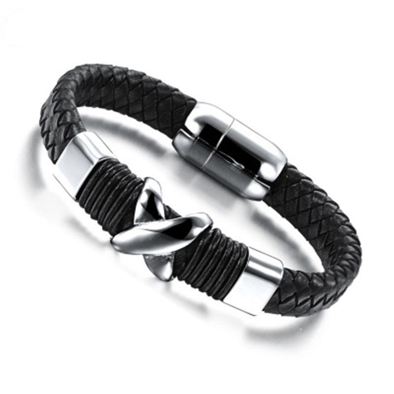 The Personality Men's Handchain Of Stainless Steel Men's Hand Chain Tide Men's Year Gift Leather Bracelet